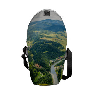 Aerial View Of Hills Landscape With River Messenger Bag