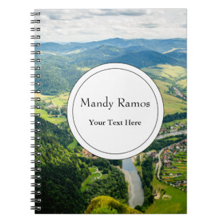 Aerial View Of Hills Landscape With River Notebook