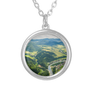 Aerial View Of Hills Landscape With River Silver Plated Necklace