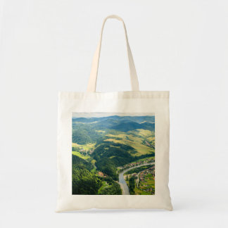 Aerial View Of Hills Landscape With River Tote Bag