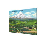 Aerial View of Hood River Valley and Mountain Canvas Print