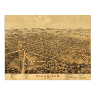 Aerial View of Kalamazoo, Michigan (1874) Postcard