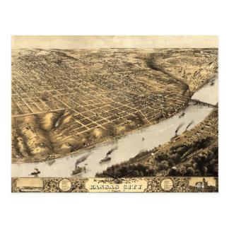 Aerial View of Kansas City, Missouri (1869) Postcard