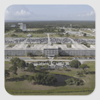 Aerial view of Kennedy Space Center Square Sticker