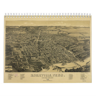 Aerial View Of Knoxville Tennessee from 1886 Calendar