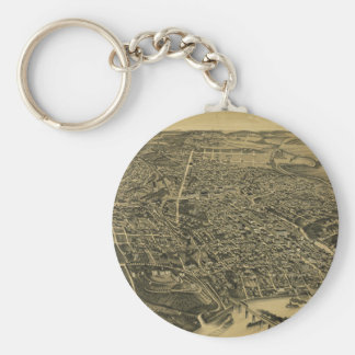 Aerial View Of Knoxville Tennessee from 1886 Keychain