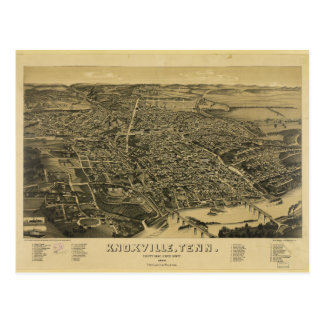 Aerial View Of Knoxville Tennessee from 1886 Postcard