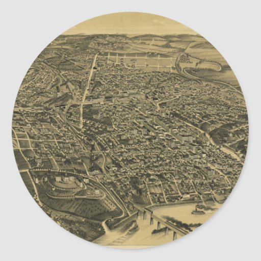 Aerial View Of Knoxville Tennessee from 1886 Round Stickers