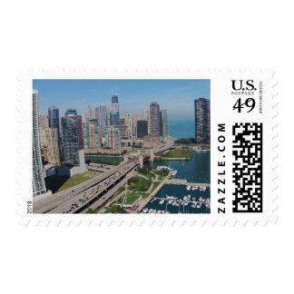 Aerial view of Lake Michigan and downtown Chicago Postage