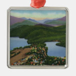 Aerial View of Lakes Placid and Mirror Christmas Ornaments