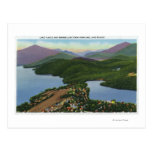 Aerial View of Lakes Placid and Mirror Postcard