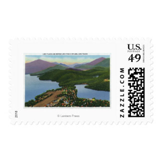 Aerial View of Lakes Placid and Mirror Stamp