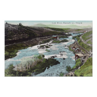 Aerial View of Link RiverKlamath County, OR Poster