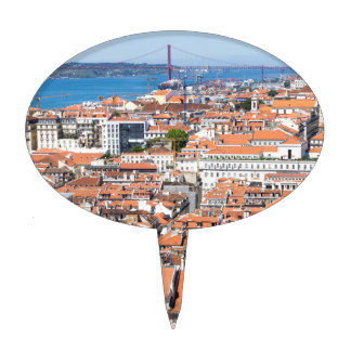Aerial view of Lisbon, Portugal Cake Topper