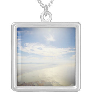 Aerial view of Long Beach, California Silver Plated Necklace
