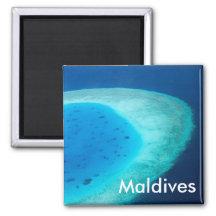 Aerial view of Maldives atoll Refrigerator Magnets