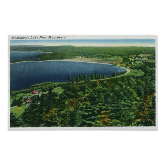 Aerial View of Massabesic Lake near City Poster