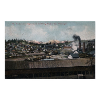 Aerial View of Mining Shaft & Town Poster