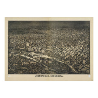 Aerial View of Minneapolis, Minnesota (1885) Poster