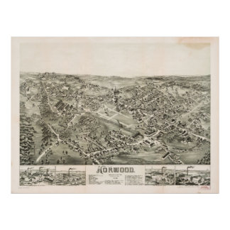 Aerial View of Norwood, Massachusetts (1882) Poster