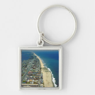 Aerial View of Ocean City Maryland Silver-Colored Square Keychain