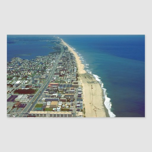 Aerial View of Ocean City Maryland Rectangular Stickers