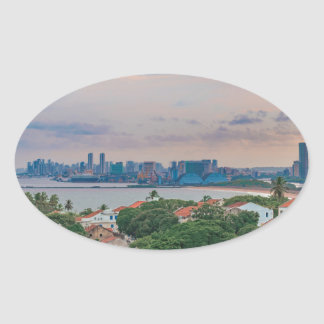 Aerial View of Olinda and Recife Pernambuco Brazil Oval Sticker