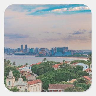 Aerial View of Olinda and Recife Pernambuco Brazil Square Sticker
