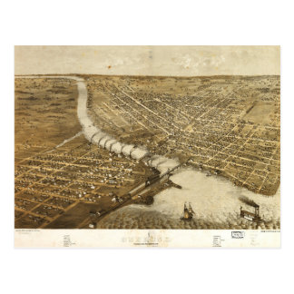 Aerial View of Oshkosh, Wisconsin (1867) Postcard