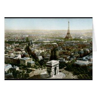 Aerial View of Paris, France Vintage card
