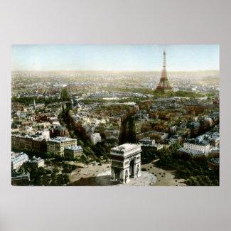 Aerial View of Paris, France Vintage print