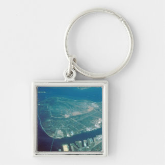 Aerial View of Pelican Island Silver-Colored Square Keychain