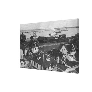 Aerial View of Residences and River Front Canvas Print