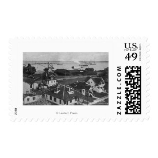 Aerial View of Residences and River Front Postage Stamp