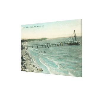 Aerial View of San Mateo Beach and Pier Canvas Print