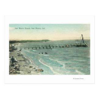 Aerial View of San Mateo Beach and Pier Postcard