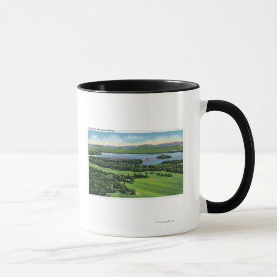 Aerial View of Saranac Inn Golf Course & Mug