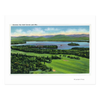 Aerial View of Saranac Inn Golf Course & Postcard