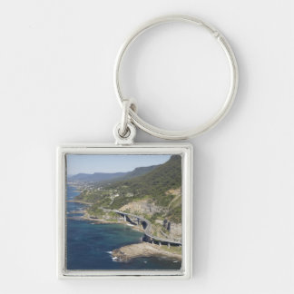 Aerial view of Sea Cliff Bridge near Wollongong, 2 Silver-Colored Square Keychain