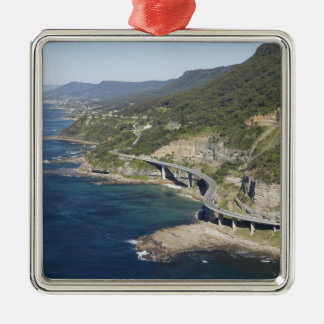 Aerial view of Sea Cliff Bridge near Wollongong, 2 Square Metal Christmas Ornament