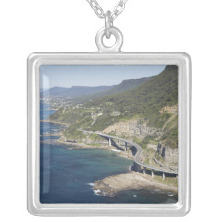 Aerial view of Sea Cliff Bridge near Wollongong, 2 Square Pendant Necklace