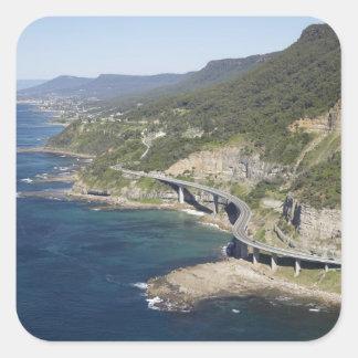 Aerial view of Sea Cliff Bridge near Wollongong, 2 Square Sticker