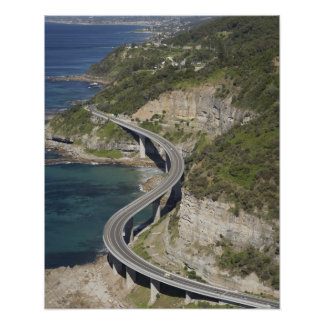 Aerial view of Sea Cliff Bridge near Wollongong Poster
