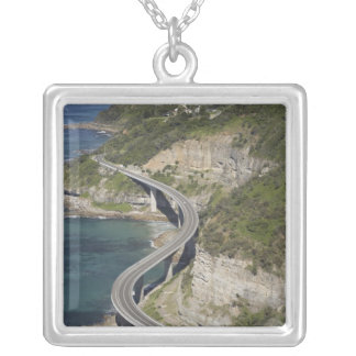 Aerial view of Sea Cliff Bridge near Wollongong, Square Pendant Necklace