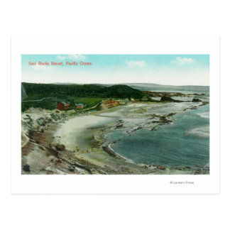 Aerial View of Seal Rocks Resort and Pacific Postcard
