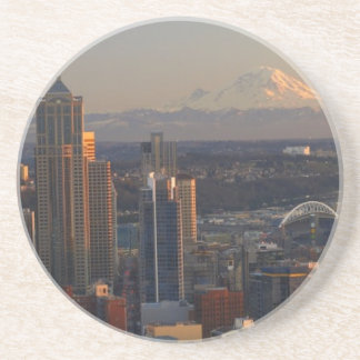 Aerial view of Seattle city skyline 2 Coaster