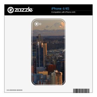 Aerial view of Seattle city skyline 2 Decals For The iPhone 4