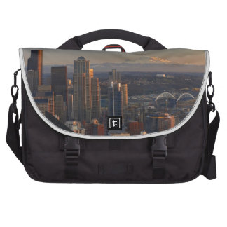Aerial view of Seattle city skyline 2 Bags For Laptop