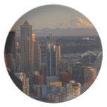 Aerial view of Seattle city skyline 2 Party Plates