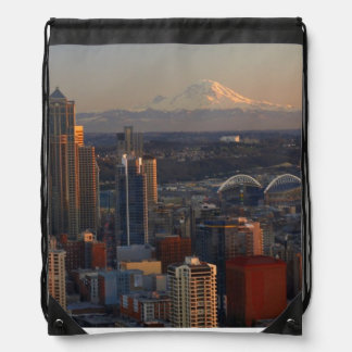 Aerial view of Seattle city skyline 2 Drawstring Backpacks